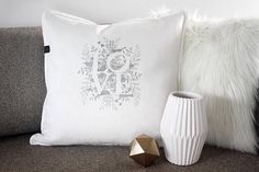 Love pillow, with love nest illustration. Unique handprinted gift for Valentine, an anniversary, or as wedding or home decor Love Gifts, Valentine Gifts, Nest, Cushion, Throw Pillows, Illustration, Handmade Gifts, Unique, Home Decor