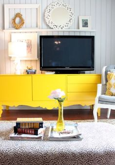 Shelf on top of tv entertainment center, decoration, buffet, home living room, Home Living Room, Living Spaces, Style At Home, Beautiful Space, My Dream Home, Painted Furniture, Family Room, Sweet Home, Room Decor