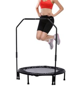 Fitness Trampoline For Adults Mini Kids With Handle Handrail Rebounders Workout #SunnyHealth