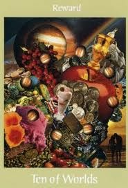 """ten of worlds from Voyager Tarot by James Wanless """"Reward"""""""