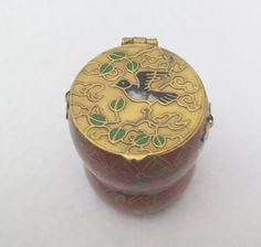 Asian Cloisonne Trinket Box with Ornated Lid with Birds Motifs by Framarines on Etsy