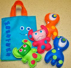 Monsters busy bag activity bag and plush toys made from recycled felt. $32.00, via Etsy.