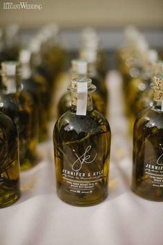 Olive oil wedding favours, bottled olive oil wedding favor WHIMSICAL SUMMER WEDDING IN ONTARIO www.elegantwedding.ca