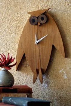 Silly owl clock. Honestly, I need numbers on my clocks though. Wonder what he would look like with white numbers... $36