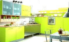 I REALLY love the lime green cabinets!