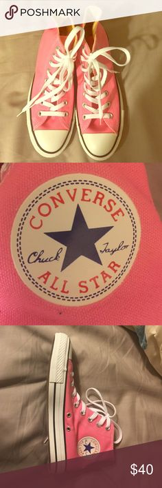 Pink Converse Pink high top converse sneakers! Brand New!!! Converse Shoes Sneakers