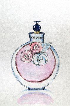 Original Valentino Perfume Watercolour Illustration  by Smogartist, £20.00:
