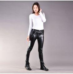 Leggings Mode, Plus Size Leggings, Leggings Fashion, Black Leggings, Tight Leather Pants, Plus Size Kleidung, All Black Looks, Boho Pants, Stretch Pants