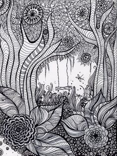Zentangle black & white, hardline contrasts, and textures гриффонаж, зе Zentangle Drawings, Doodles Zentangles, Zentangle Patterns, Doodle Drawings, Tangle Doodle, Tangle Art, Doodle Art, Zen Doodle, Colouring Pages