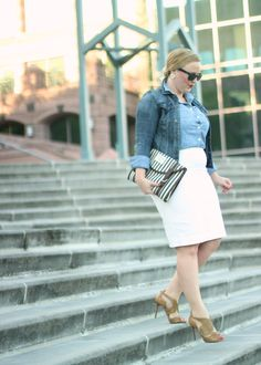Chambray Button-up White Pencil Skirt
