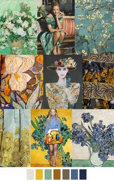 sources: nytimes.com (Van Gogh), officialrodarte.tumblr.com, redbubble.com (Van Gogh), thewallinna.com (Van Gogh embroidered by Lesage for Yves Saint Laurent), aiguille-en-fete.com, vogue.com (Rodar