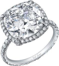 Neil Lane cushion shape diamond and platinum ring, R02356