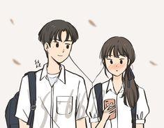 Cute Couple Drawings, Cute Couple Cartoon, Cute Couple Art, Cute Drawings, Kawaii Drawings, Cute Art Styles, Cartoon Art Styles, Cartoon Drawings, Couple Illustration