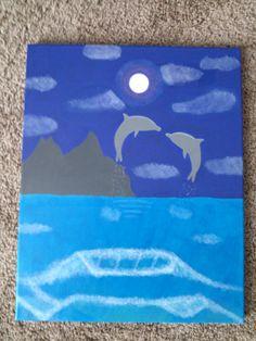 diy - dolphin painting in acrylic