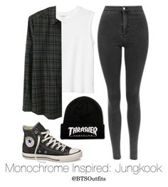 """""""Monochrome Inspired: Jungkook"""" by btsoutfits ❤ liked on Polyvore featuring Converse, Monki and Rachel Comey"""