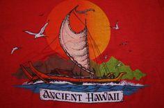 Vintage 1979 ANCIENT HAWAII Sailing Boating Hawaiian Sunset T-Shirt Men's Large #GraphicTee