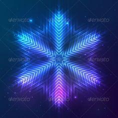 Cosmic Shining Vector Abstract Snowflake
