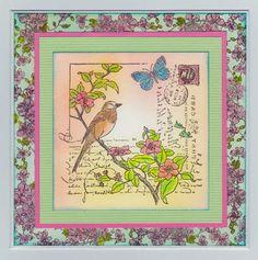 MMM challenge inspiration with Penny Black collage stamp. Stampendous Frantage floral stamp for background paper.