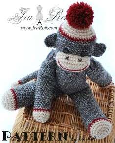 Classic Brown Twist Sock Monkey Hat and doll PDF Crochet Pattern