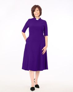 7b5242bc79e The Clergy Tea Dress is a great mid-calf length with short sleeves. It has  a lovely flow and hidden side pockets. Clergy attire at House of ilona.