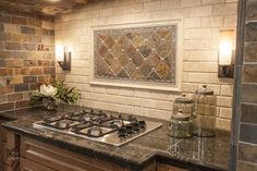 Modern yet rustic, this hearth style backsplash features slate ...