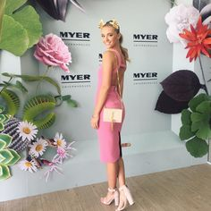 """What a day for it. Melbourne cup in @myer marquee. Thanks for having me @katecopr  Dress: @yeojinbae Bag: @ysl Millinery: @viktorianovak Shoes:…"""