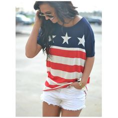 Red white and blue. Stars and Stripes. USA. United States of America. Merica. 4th of July. Outfit. Summer. Shorts.