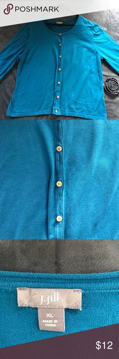 "J.Jill cardigan Beautiful teal blue cardigan. Tan buttons. Lightly worn. 21"" bust, 21"" length, 16"" sleeve length. J. Jill Sweaters Cardigans"