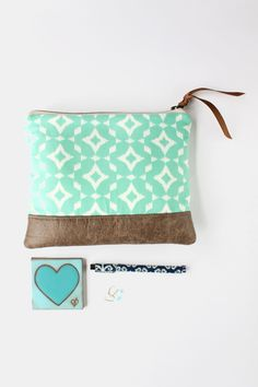 Mint Ikat Clutch with Faux Leather Trim Large Bag
