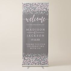 Blush Pink Watercolor Confetti Wedding Welcome Retractable Banner