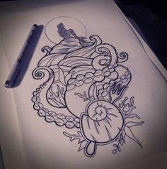 Ideas For Tattoo Mermaid Color Ariel Mermaid tattoo – Fashion Tattoos Home Tattoo, Tattoo Life, Girly Tattoos, Body Art Tattoos, Pretty Tattoos, Tattoos Mandala, Tattoos Geometric, Octopus Tattoos, Tattoo Sketches