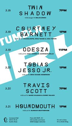 Tumblr IRL at SXSW | Wednesday, March 18 at 7pm | Thursday, March 19 at 1pm and 11pm | Friday, March 20 at 1pm and 7pm | Saturday, March 21 at 1pm | Ironwood Hall: 505 E. 7th St., Austin, TX 78701 | Special live performances with art installations | Lineup & RSVP: http://irlirl.tumblr.com/sxsw