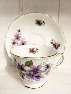 Royal Vale tea cup and saucer Violets bone china