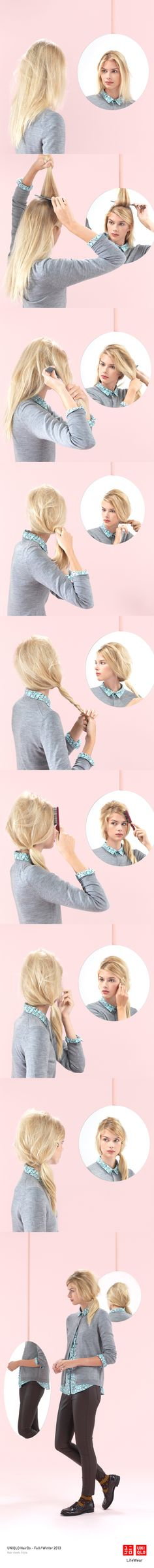 """THE BEE HIVE WITH TWIST"" : A cardigan, patterned blouse, and loose ponytail make this a great look for a day at the office. Click the image for DIY instructions! #Ponytail #Hair #DIY #Hairstyle #UNIQLO"