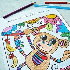 Hattifant's Stripy Monkey Coloring Page
