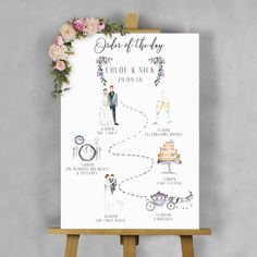 Are you interested in our wedding order of the day sign? With our illustrated we… Are you interested in our wedding order of the day sign? With our illustrated wedding day sign you need look no further. Wedding Signage, Wedding Programs, Wedding Cards, Wedding Vows, Jeep Wedding, Wedding Entrance, Wedding Scene, Ceremony Programs, Wedding Reception