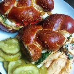 Sandwich dreams. Meet the Chicken Cutlet Philadelphia! Filled with chicken, handmade mozz, pesto, and spinach on pretzel challah. BOOM!