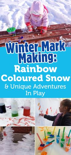 Winter Mark Making: Rainbow-Coloured Snow And Unique Adventures In Play Foundation Stage, Eyfs, Mark Making, Pre School, Rainbow Colors, Snow, Activities, Adventure, Play