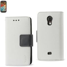 Reiko Wallet Case 3 In 1 For Samsung Galaxy Light T399 White With Black Interior Polymer