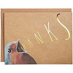 Gold Foil Bird A2 Thank You Notes