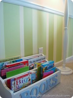 Love this storage for books-easily accessible for little ones and safer than a bookcase