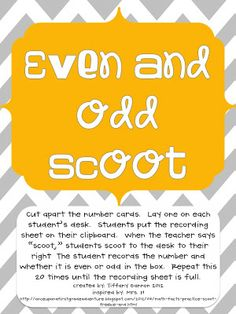 This freebie game is a favorite in my classroom! Get students moving practicing identifying even and odd numbers. Directions on how to play the g. 2nd Grade Math Games, 2nd Grade Teacher, Second Grade Math, Math 2, Grade 2, Math Help, Math Teacher, Third Grade, Math Classroom