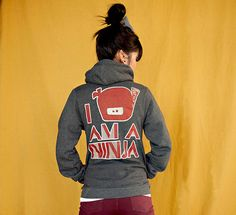 I Am A Ninja Zipper Hoodie Jacket - Dark Heather Grey / Creme / Dark Red - Unisex Sizes S, M, L