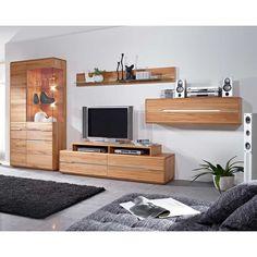 massivholz wohnwand in hellgrau fichte (4-teilig ... - Wohnwand Massiv Modern