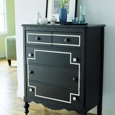 a fresh coat of paint makes a shabby dresser look fresh and interesting.