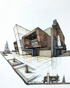 design sketch House sketch design architecture ideas for 2019 Architecture Drawing Sketchbooks, Architecture Concept Drawings, Architecture Design, Interior Architecture Drawing, Landscape Architecture, Computer Architecture, Minimalist Architecture, Interior Rendering, Architecture Student