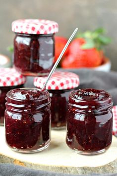 Rhubarb Berry Jam: Sweeten up your mornings with this delicious Rhubarb Berry Jam, made with fresh organic berries for a tasty spread you simply can't resist. Whenever I see bright fleshy rhubarb stalks at the market I think of Blueberry Jam, Strawberry Rhubarb Jam, Rhubarb Jelly, Jam And Jelly, Jelly Recipes, Drink Recipes, Ketchup, Sauces, The Best