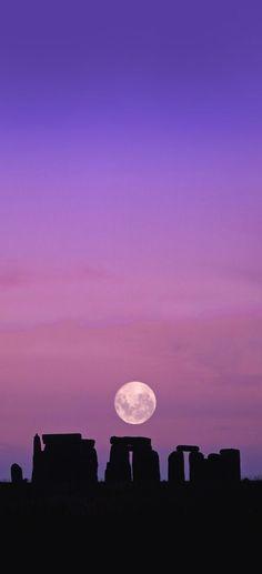 Moon over Stonehenge, England