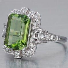 Art Deco Peridot Diamond Ring by renee