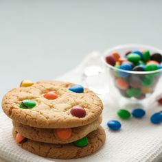 Rainbow cookies with M&M's or Smarties